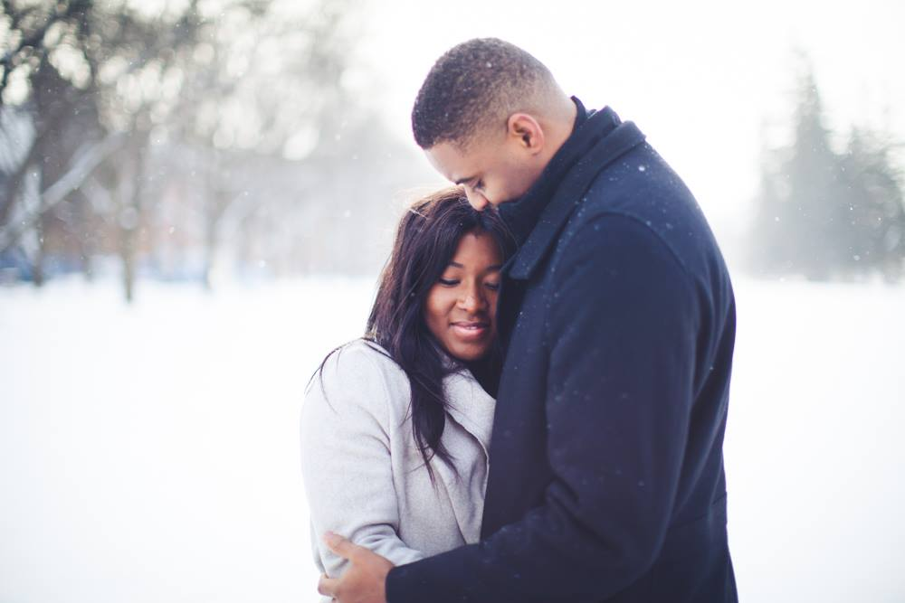 University of Guelph Winter Engagement Photography - Dupe & Seun