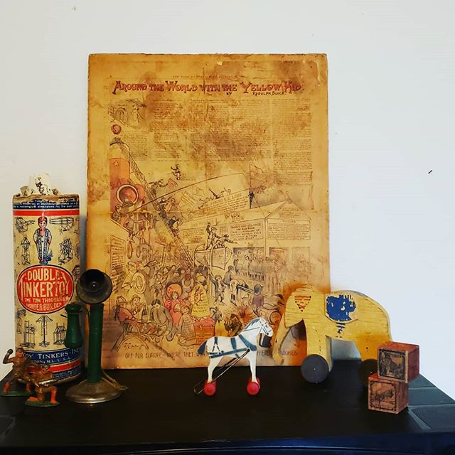 I love #antiquetoys and we have quite a few that will be available at our sale next weekend!! This #YellowKid comic from the late 1800's is #rare and perfect for any #comic lover. 💛 We have a couple!  #FortCollins #estatesales #antique #vintage #kids #toys #Colorado #history