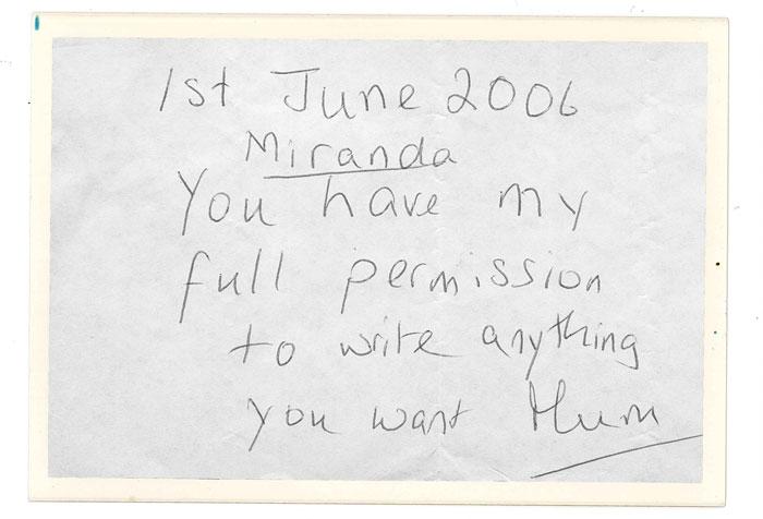 Miranda's note from Mum