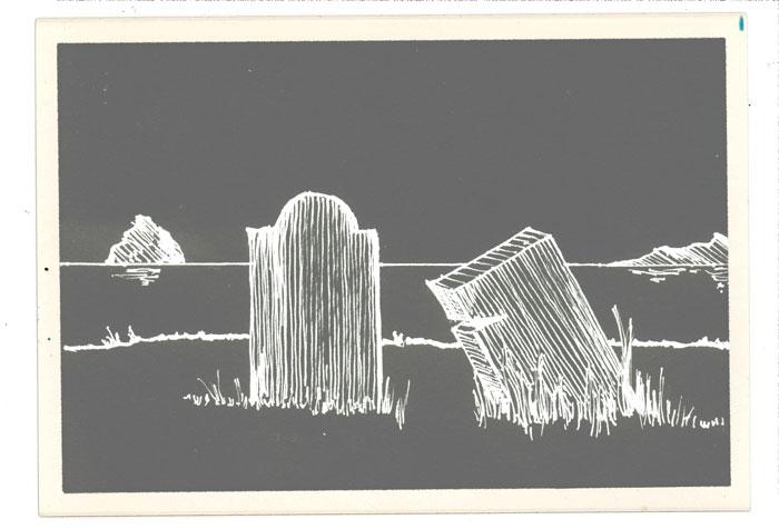 Gravestones line drawing