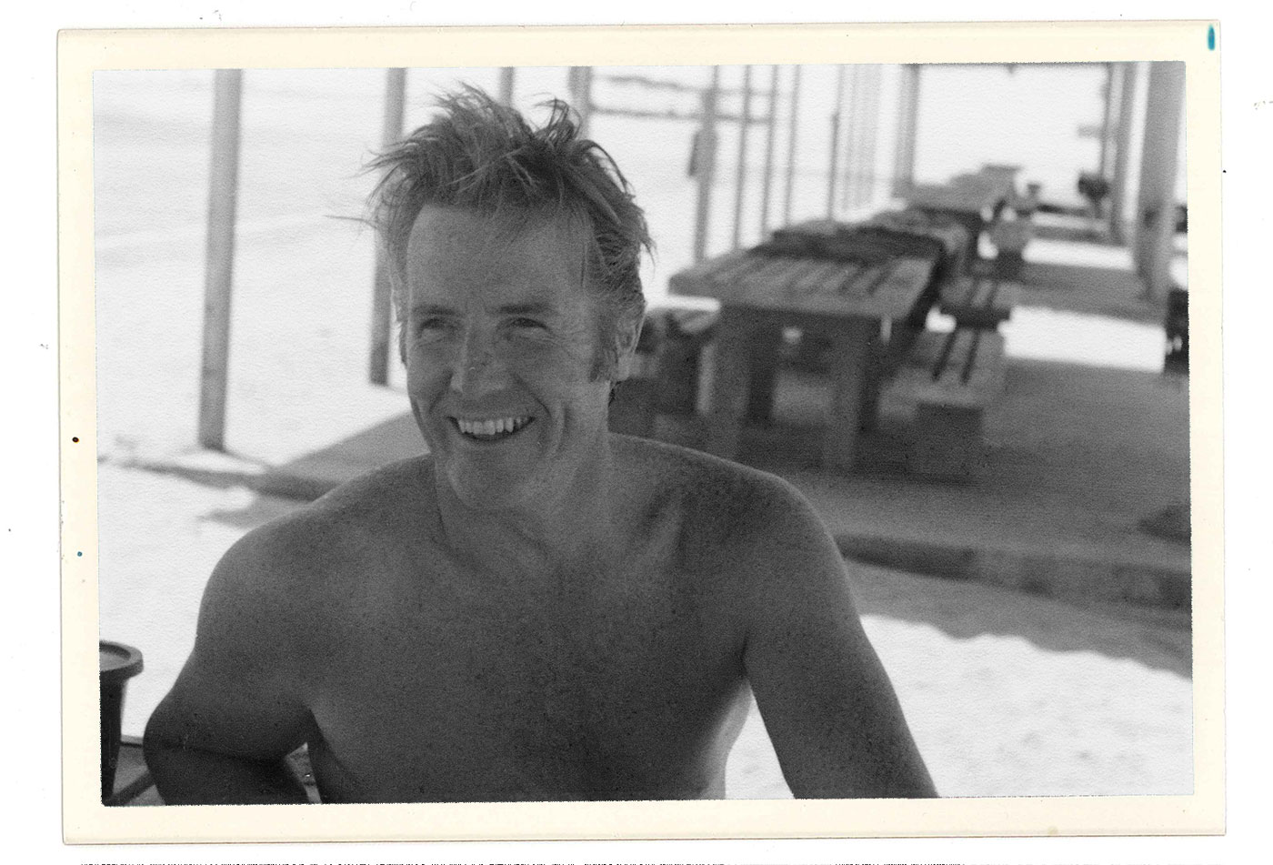 Dad on a Saudi beach circa 1978, the Persian Gulf behind him and a days sailing ahead.