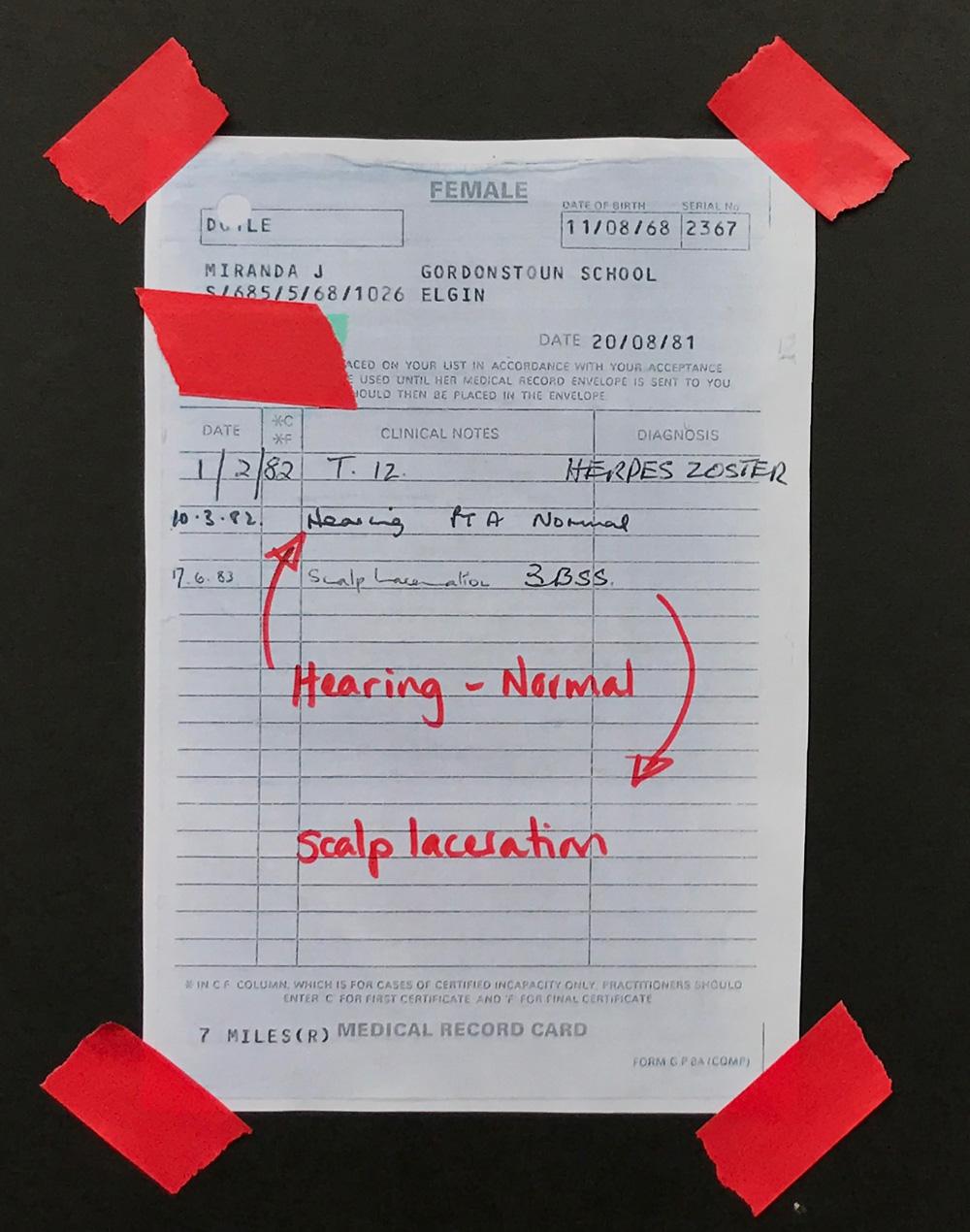 Miranda's medical records