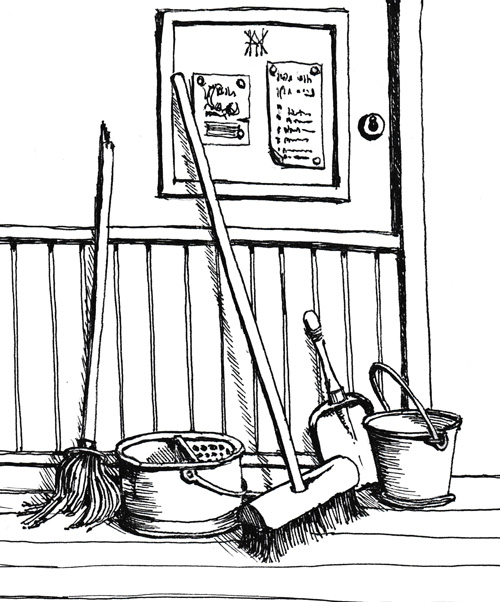 Line drawing of youth hostel cleaning equipment