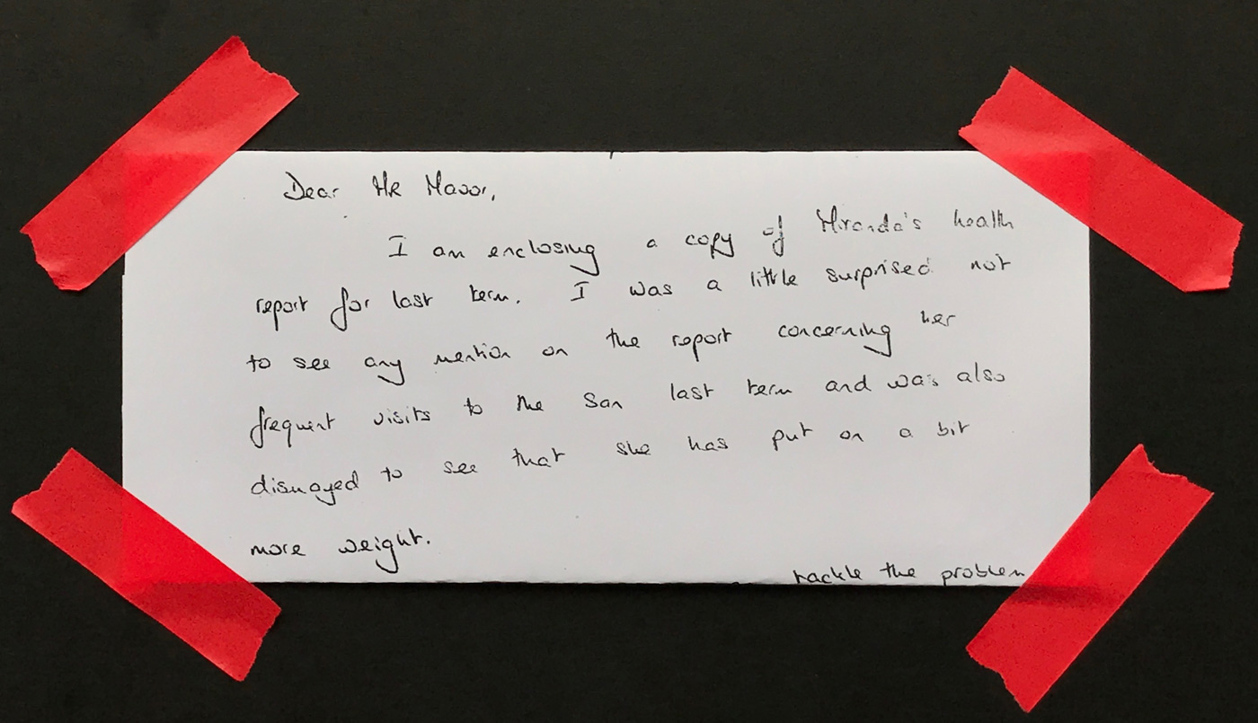 Mum's letter to Mr Moor, the headmaster