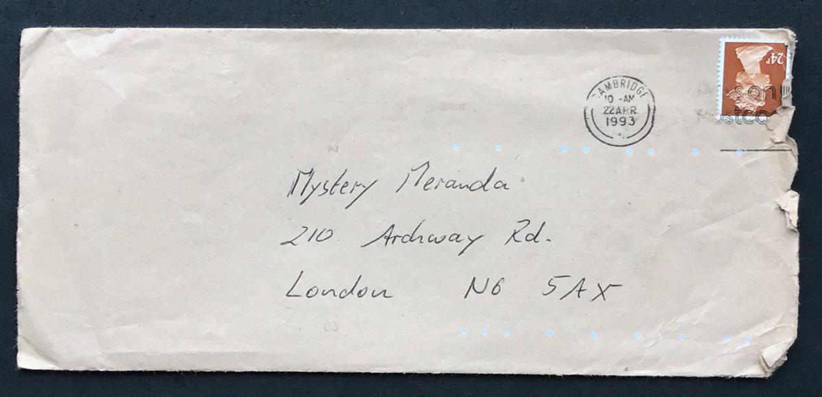 Envelope for Matt's first letter to Miranda