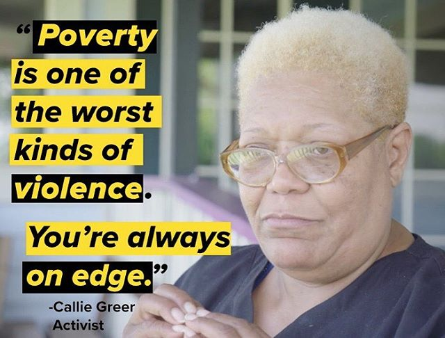 """Poverty is one of the worst kinds of violence. You're always on edge."" Callie Greer is an activist with the Poor People's Campaign fighting against systemic poverty. Learn more about the struggle of the Poor People's Campaign at poorpeoplescampaign.org."