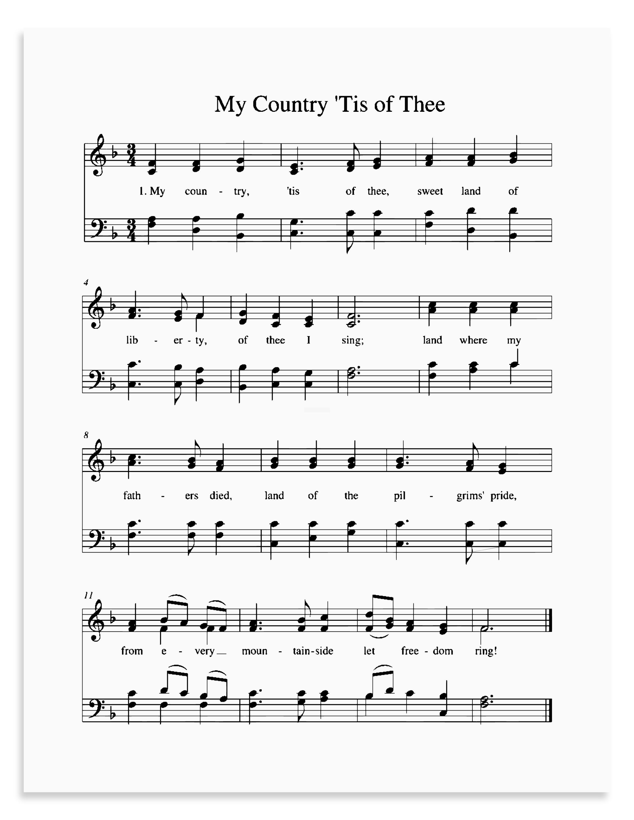 My Country 'Tis of Thee in six different keys - free printable.png