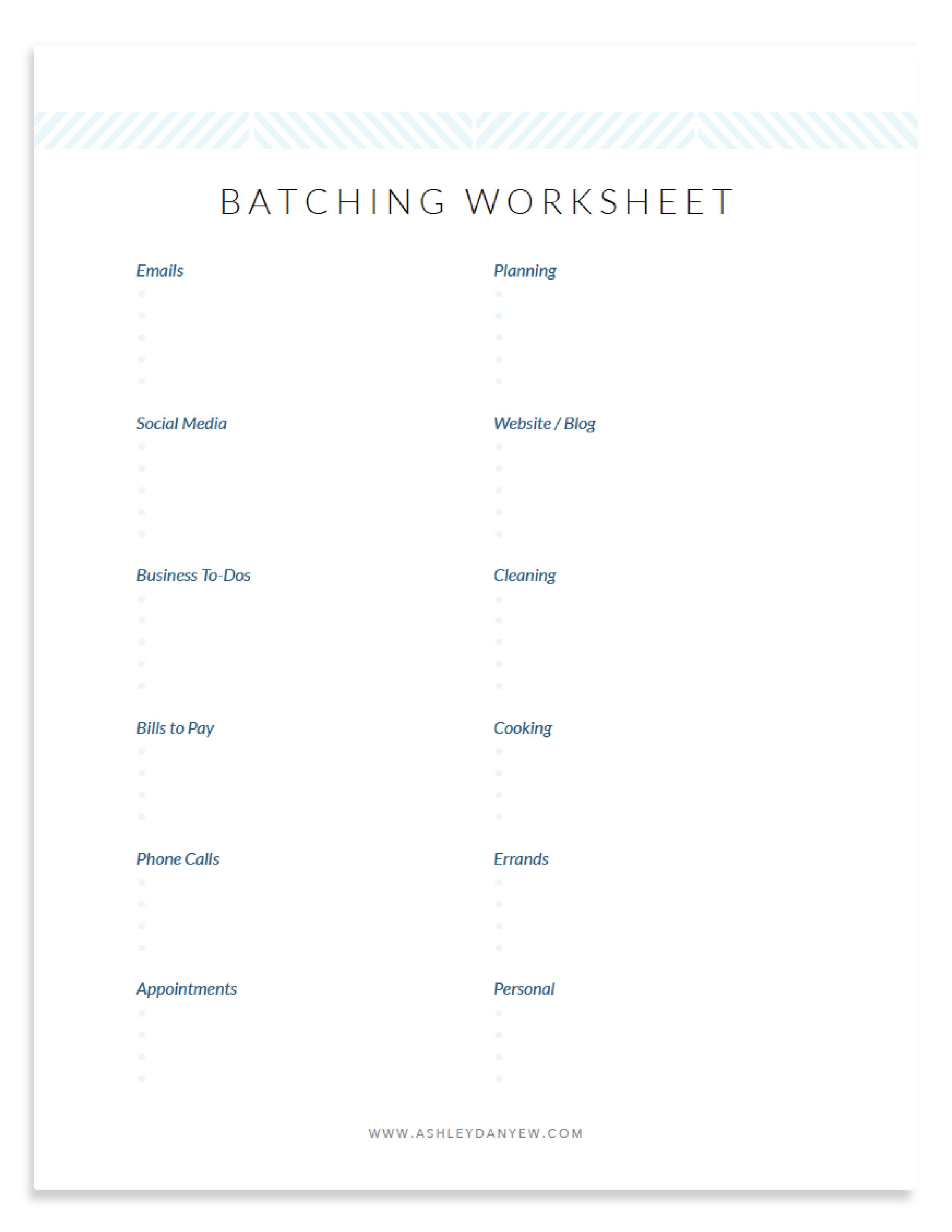 Free Batching Worksheet for Freelancers by Ashley Danyew