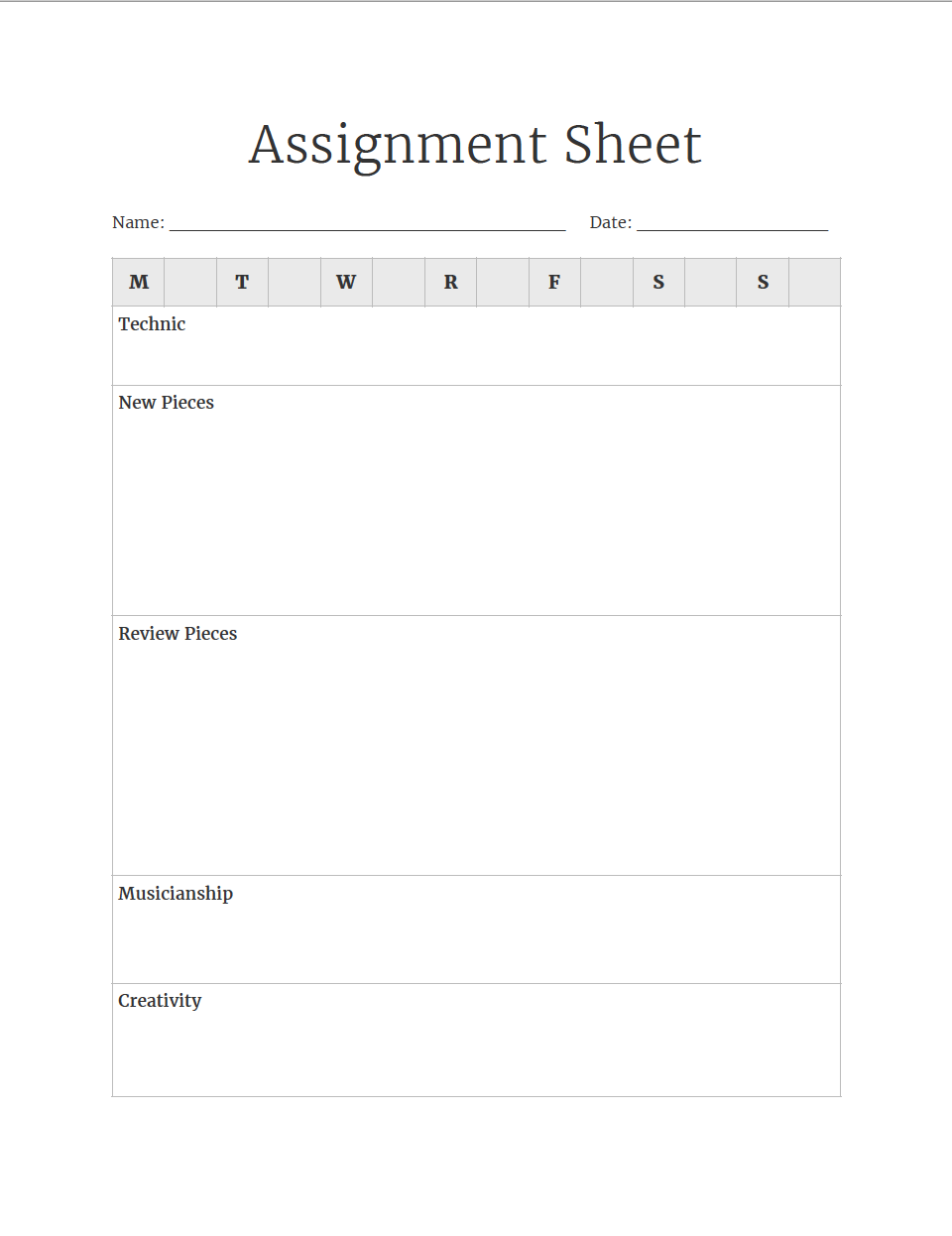 Piano Assignment Sheets