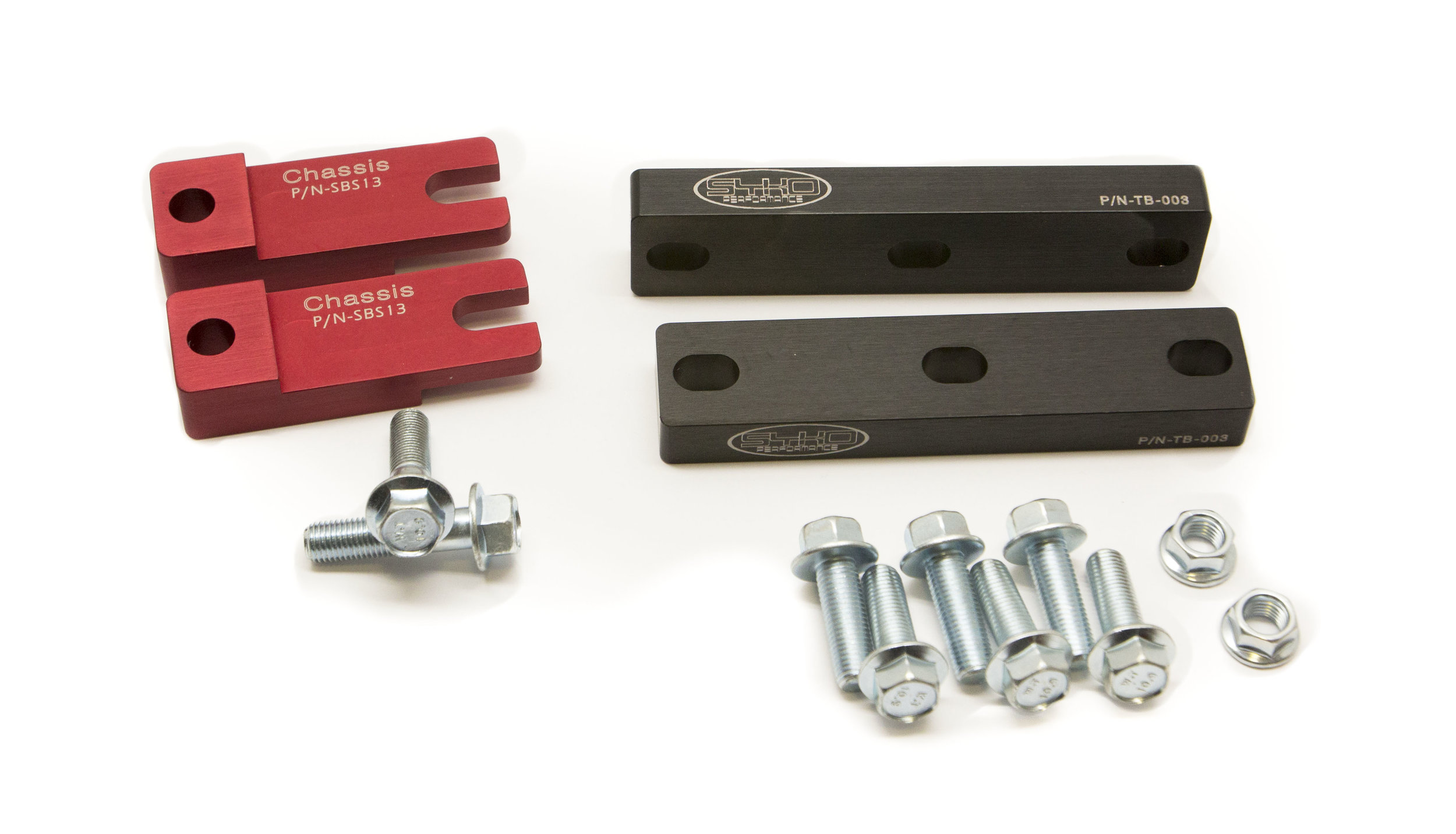 CNC T-6 Al sway bar spacers and heavy duty transmission relocation brackets