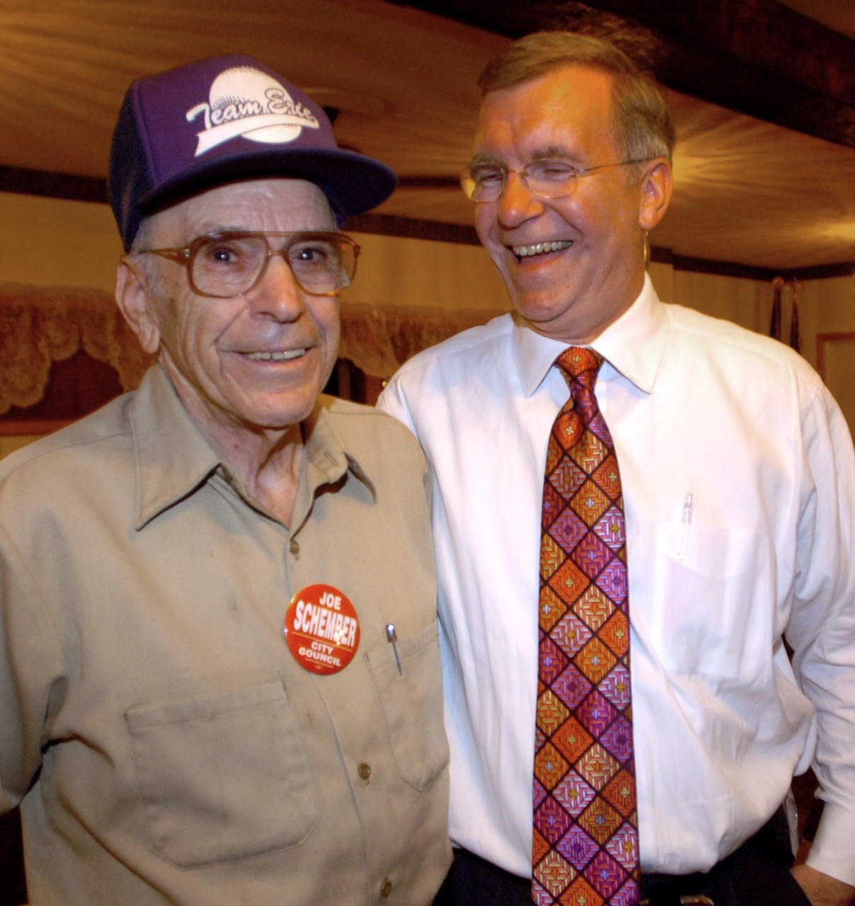 Joe and his late Father, Joe, after his election win to Erie City Council