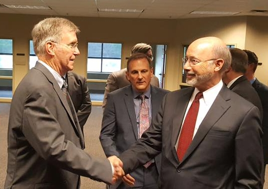 Joe meeting Pennsylvania Governor Tom Wolf for the first time.