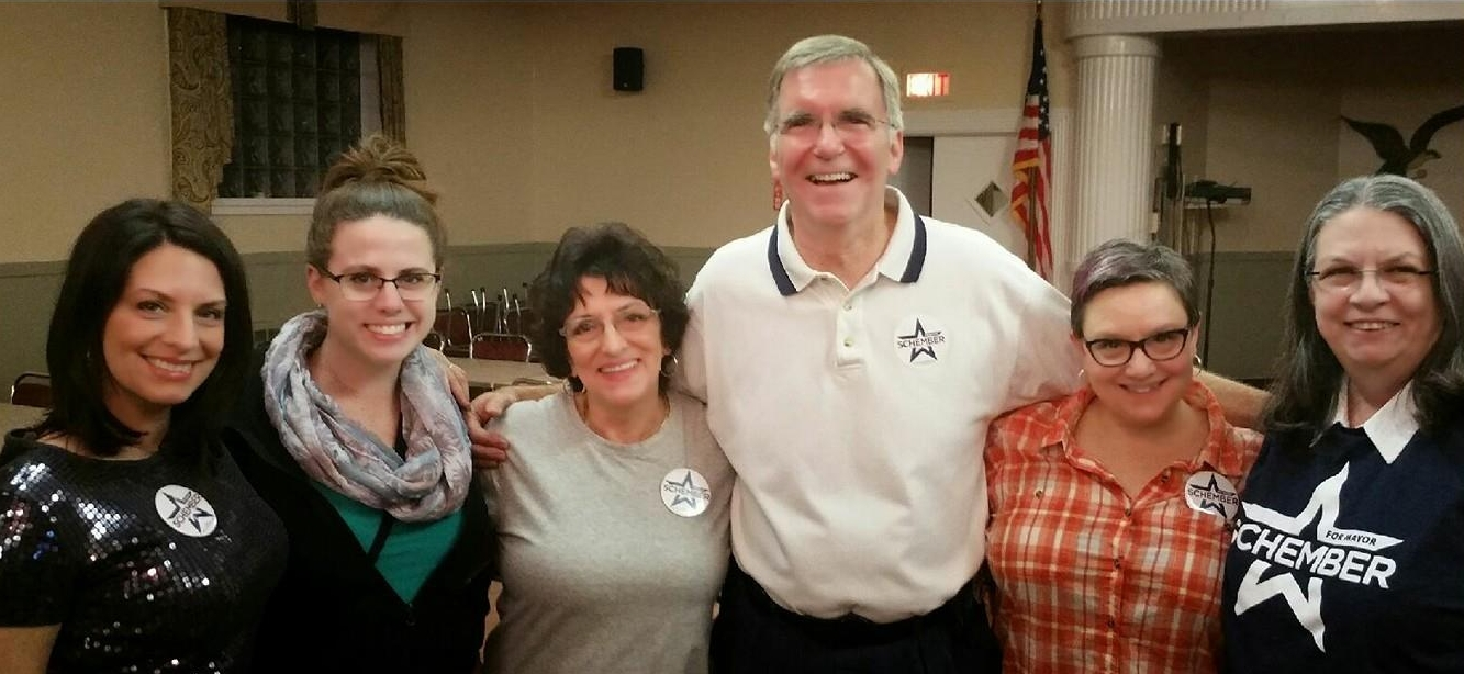 Joe and his wife, Rhonda, with supporters at an event.