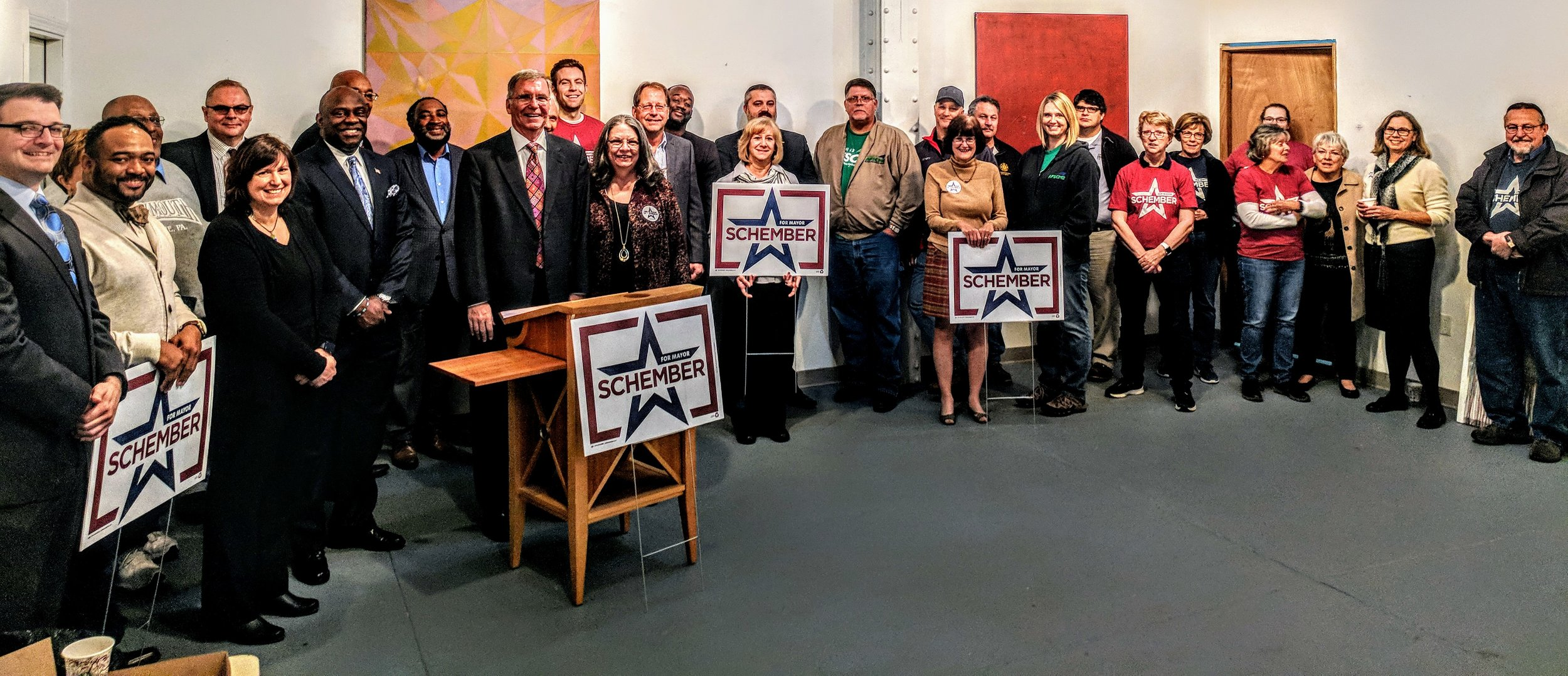 Schember is endorsed by 40+ local elected officials, business and community leaders for Mayor.