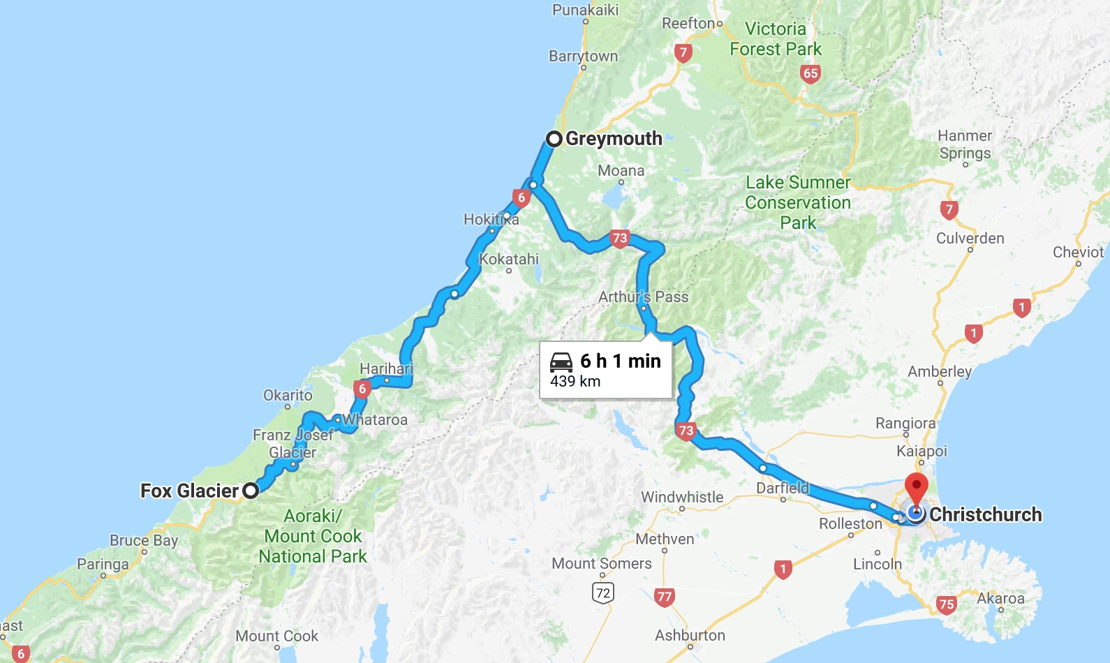 Journey back to Christchurch - At 11 am we pack our things and start making our way back to the East. This is a two day drive with a one night stop at Greymouth.