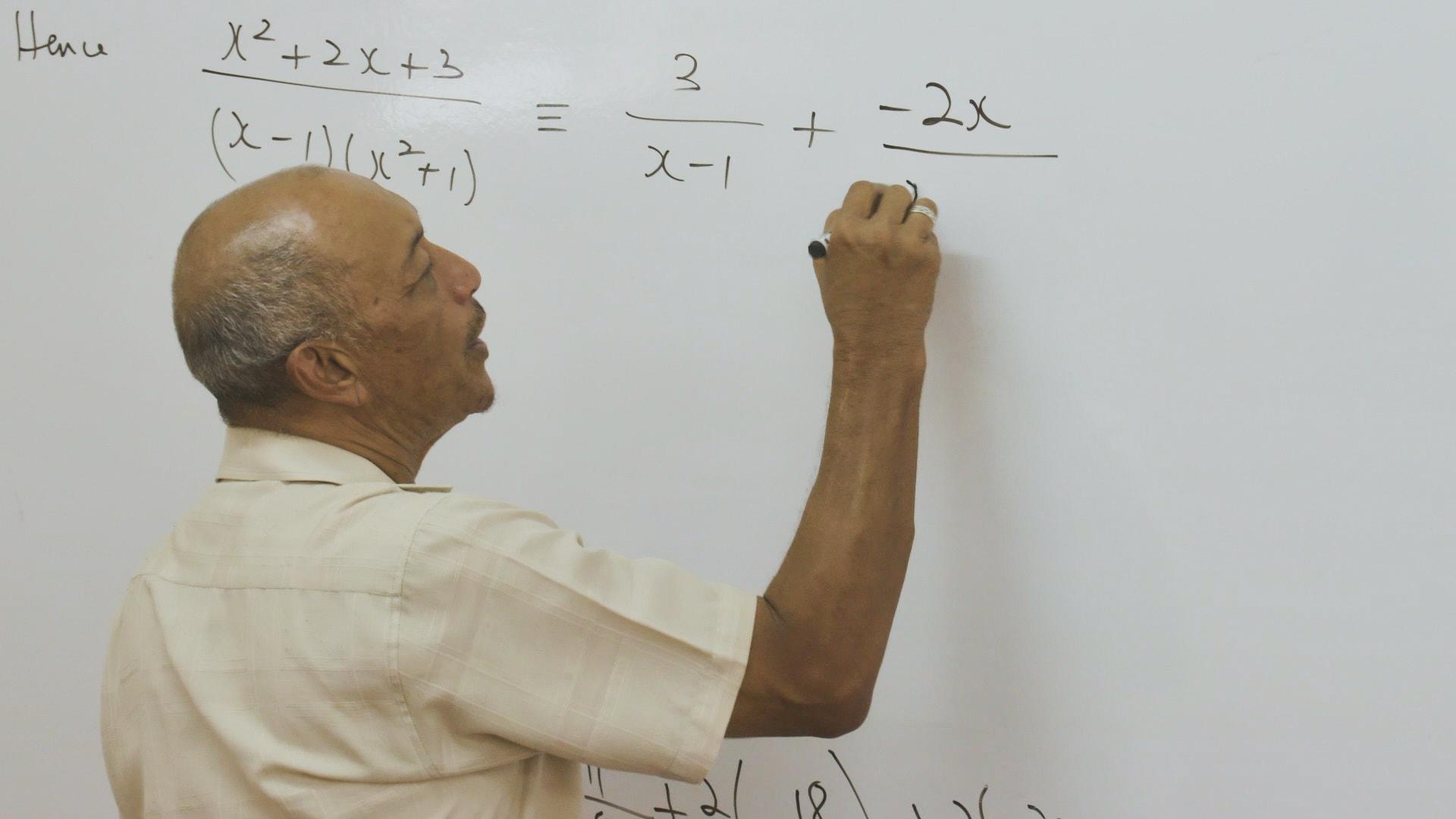 Kippy Chin teaching partial fractions at Campion.