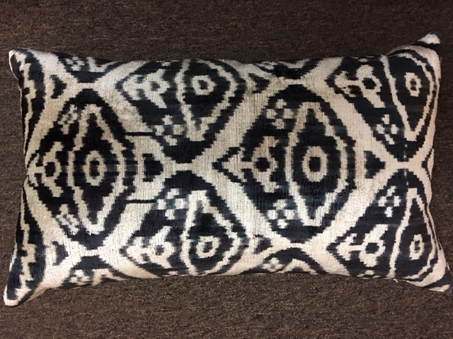 "13""x 22"" Turkish velvet pillow with down insert.  $145."