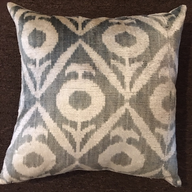 "18""x18"" Velvet Turkish pillows with down insert.  $145."