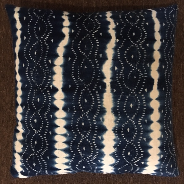 "22""X22"" Handwoven African fabric pillow with down insert.  $175."