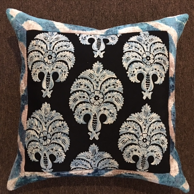 "22""x 22"" Turkish silk and velvet pillow with down insert.  $215."