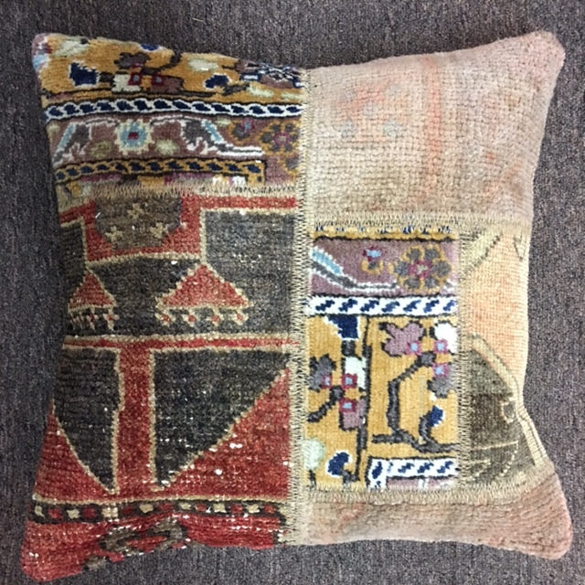 "18""x 18"" Antique Turkish rug pillow with down insert.  $110."