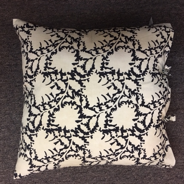 "18""x 18"" Les Indiennes cotton pillow with down insert.  $99."