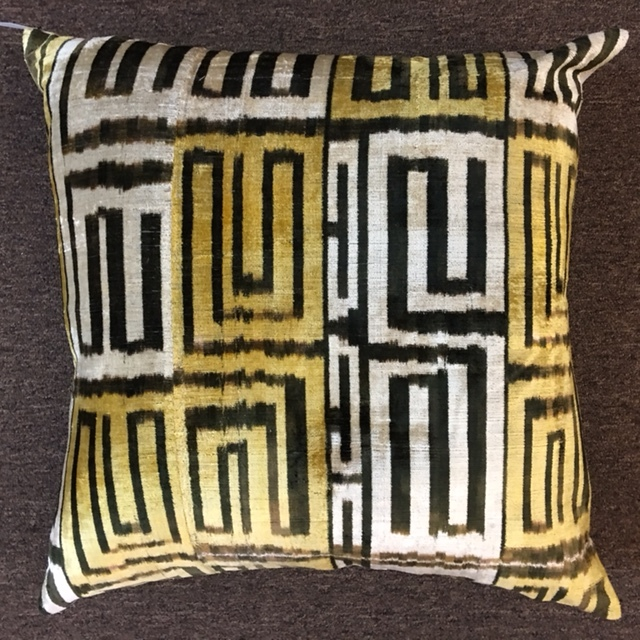 "24""X24"" Turkish velvet pillow with down insert.  $200."