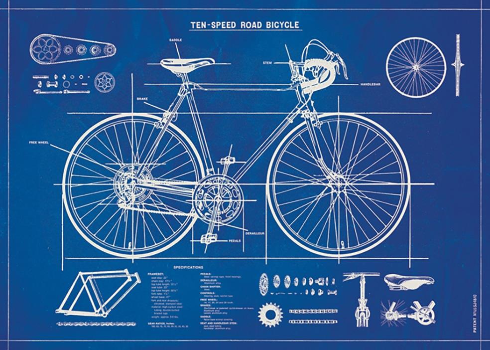 Bicycle Blueprint Wrap
