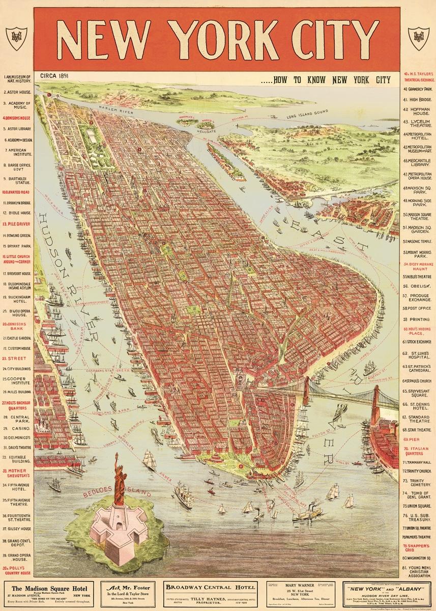 New York Map 3 Wrap