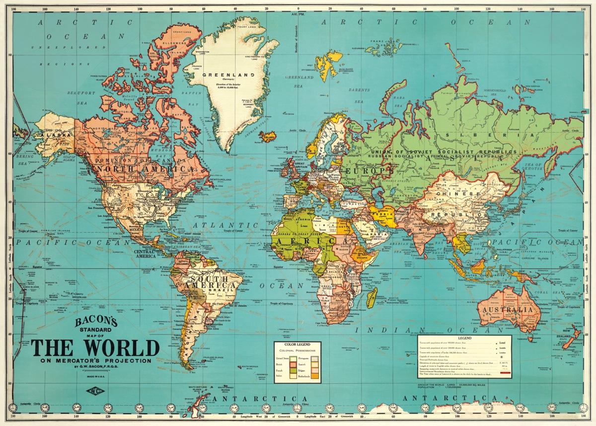 World Map 4 Wrap
