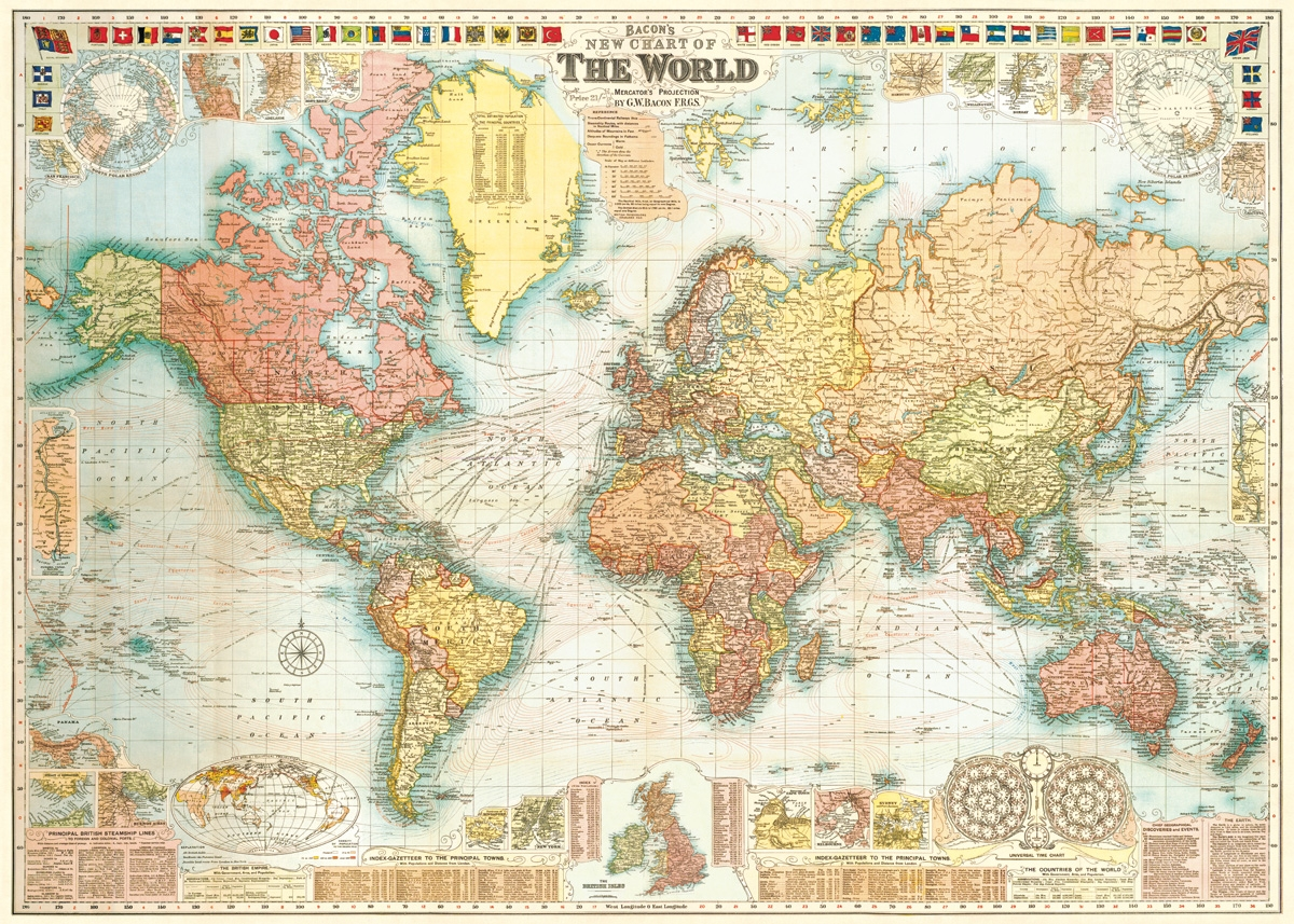 World Map 5 Wrap