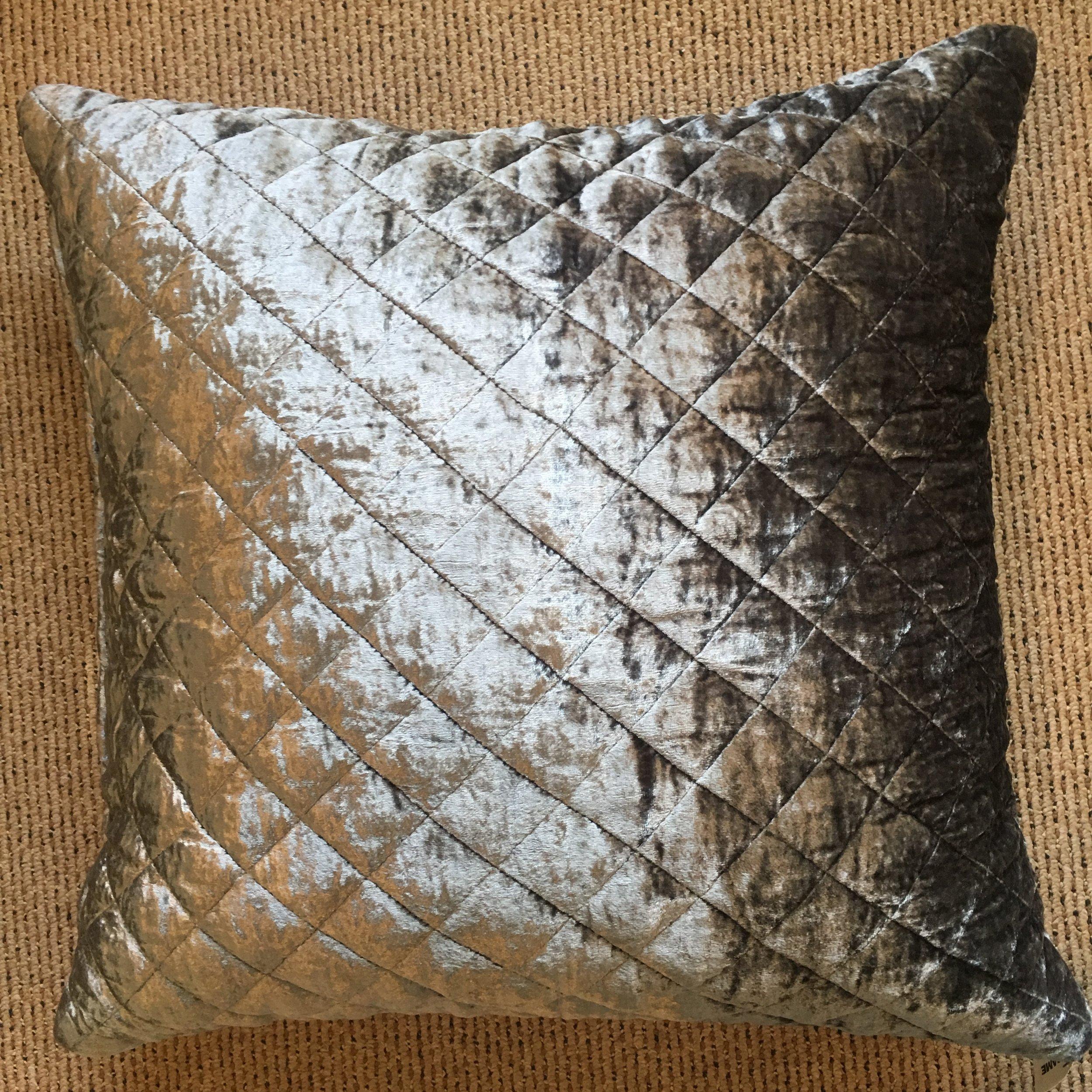 Velvet Silver Pillow $125