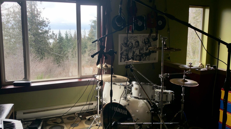 Caspersound Main Studio Floor - showing drum corner and the ocean-view from the studio floor.