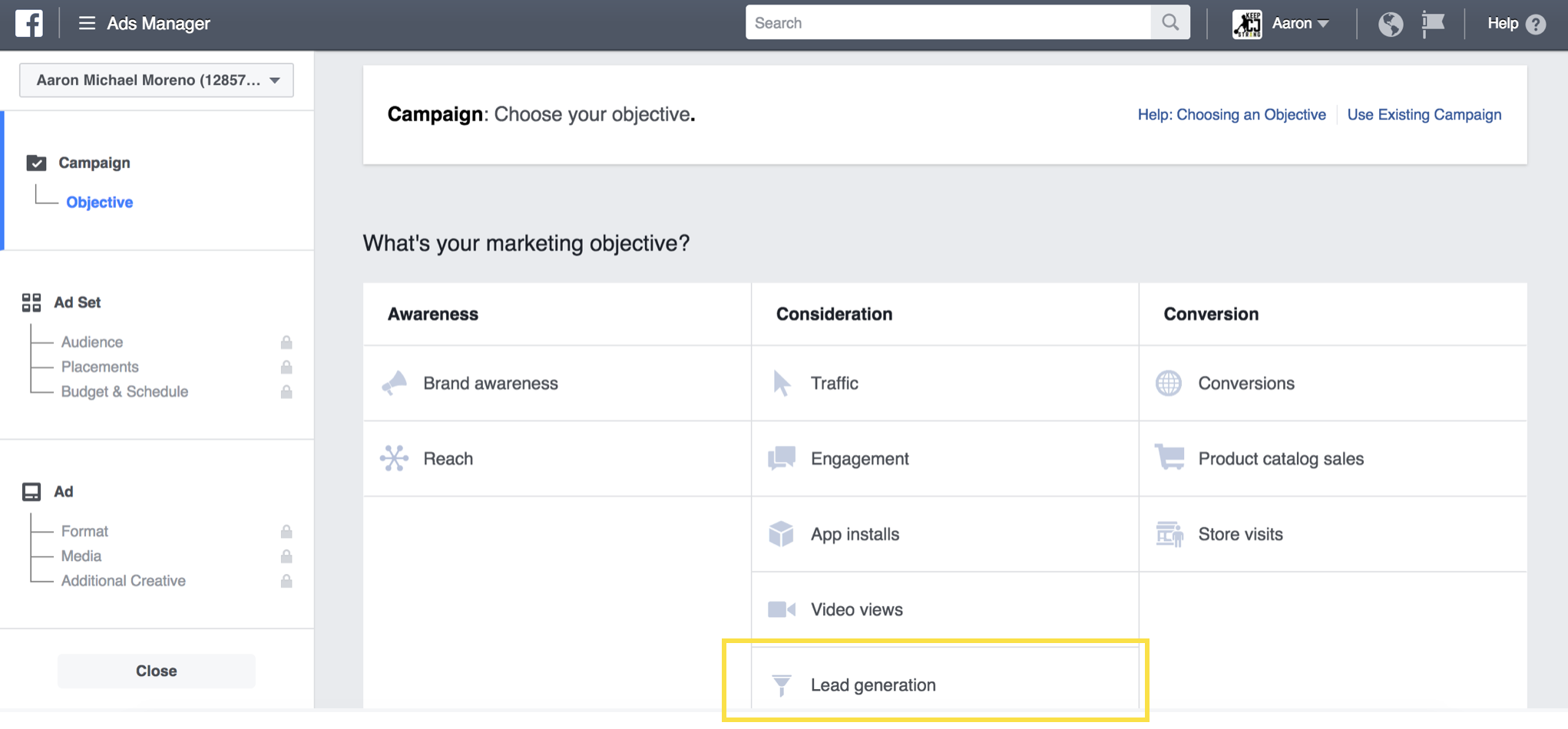 To get started, navigate to your Facebook Ads Manager account and click create new ad then select Lead generation. Facebook will walk you through from there!