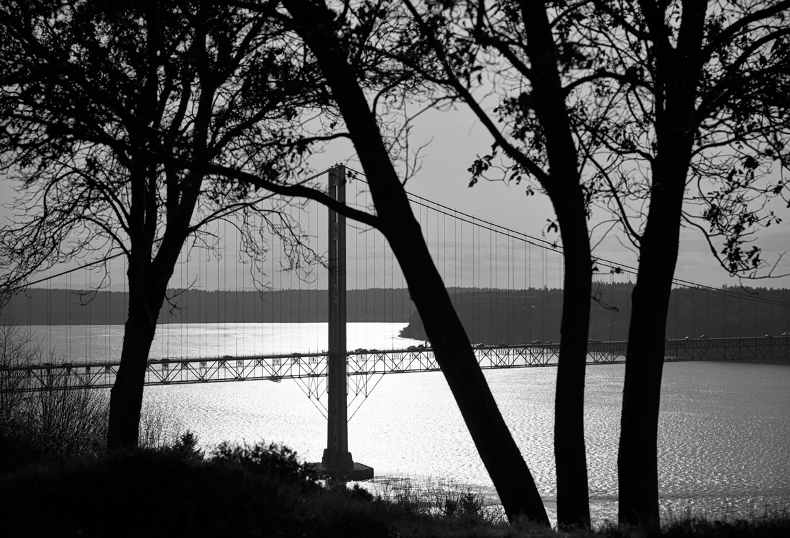 Narrows Bridge Silhouette, Tacoma, 1991 (Silver), limited edition, signed © Christopher Petrich