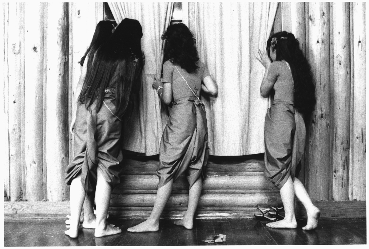 Cambodian Girl Dancers Peeking From Backstage, 1980