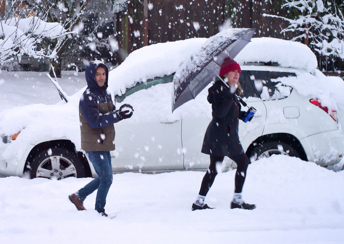 Making A Snowball With A Wry Glance, Tacoma, On The Last Day It Snowed, February 2019