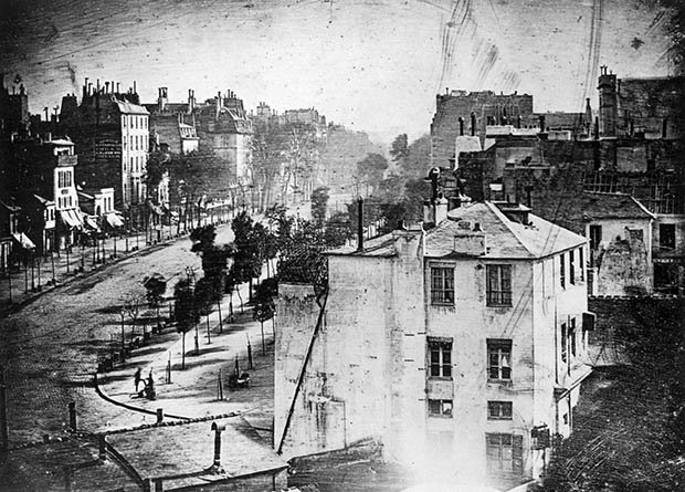 First Ever Photograph of a Human Being  — Boulevard du Temple  in Paris (1838) by Louis Daguerre. In the bottom left hand corner is a man who was having his shoes shined.