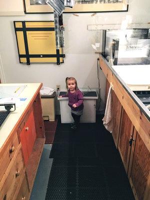 Ramona helps in the darkroom…