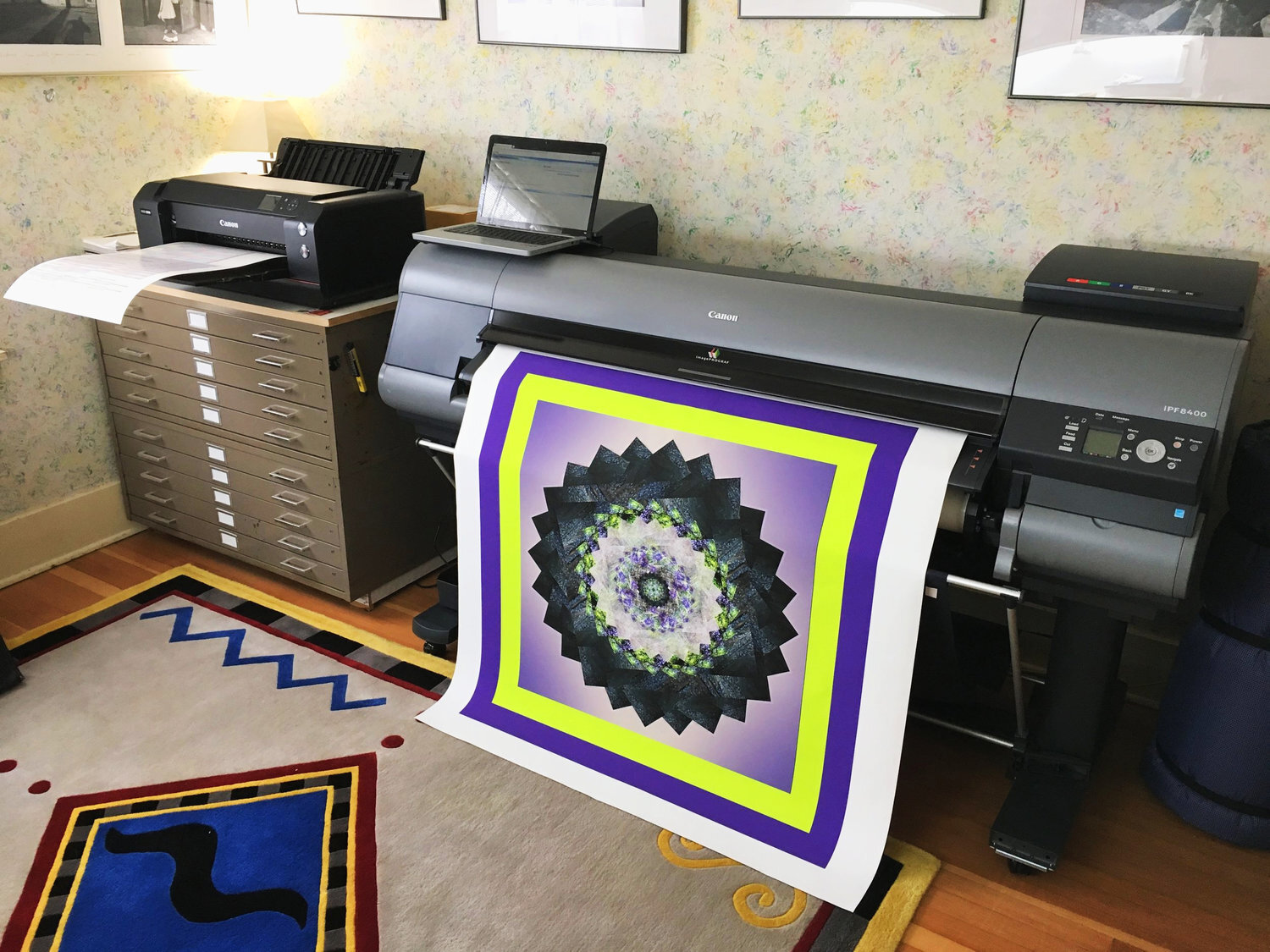 Our exciting new printers; the Canon Prograf1000 on the left and the Canon iPF8400 on the right. These are superb pigment inkjet printers using the amazing Lucia pigment inks, Definition and resolution are outstanding, better than anything else out there.