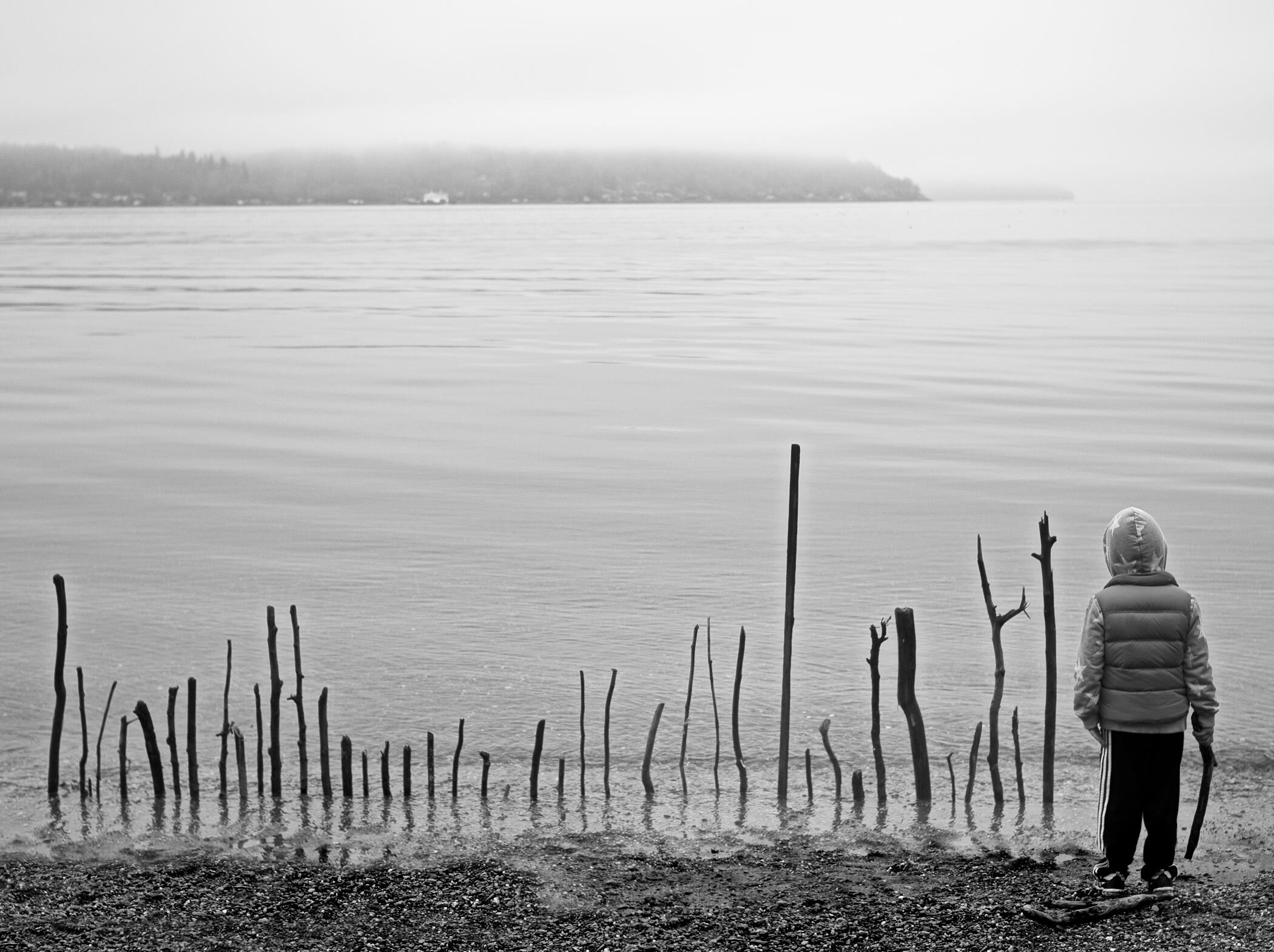 A Little Boy's Driftwood Fence On Owen Beach, New Years 2014, Tacoma , Today's Coolphoto 09/24/2019 Archival Pigment:: Edition 15 :: Size 11x9 :: Signed :: $250. ©2019 Christopher Petrich
