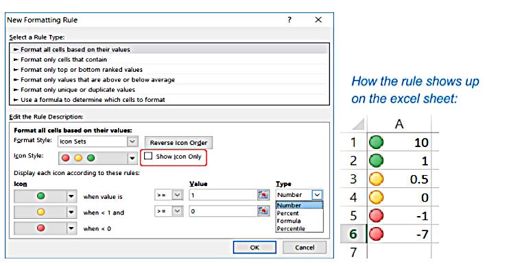 Excel Conditional Formatting new rule description set-up