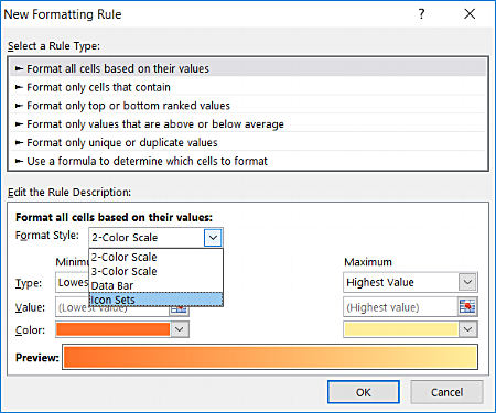"""Excel Conditional Formatting """"new Rule"""" window pop-up"""