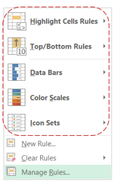 Excel Conditional Formatting default rule options