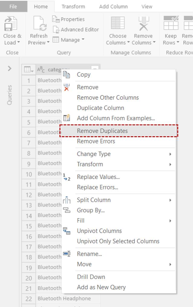 Power Query editor Remove Duplicates