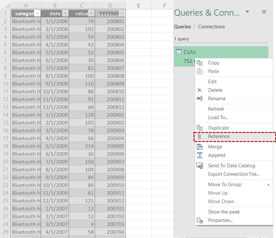 Power Query create reference query