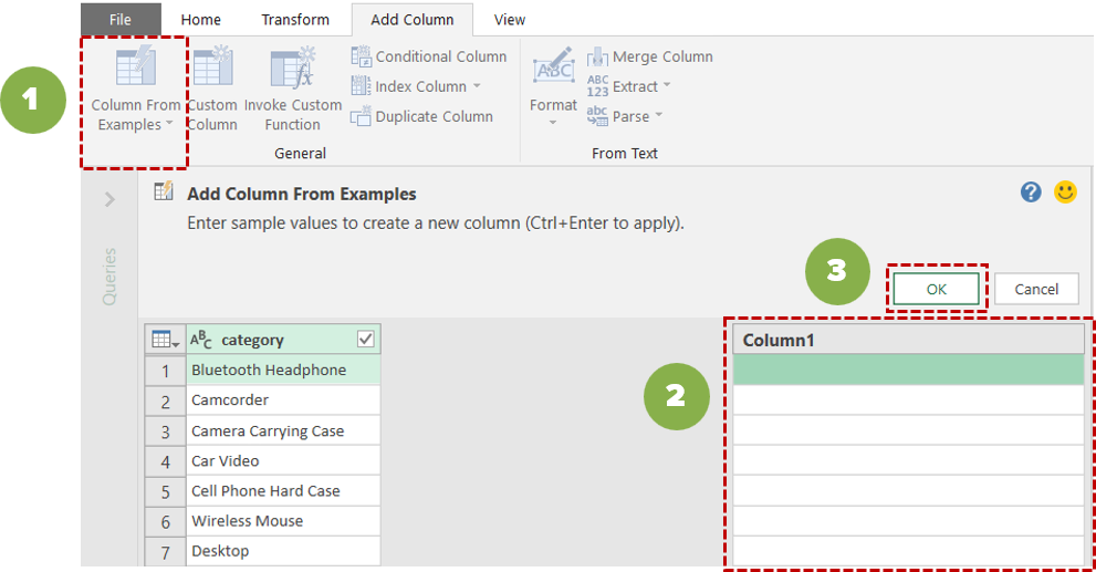 Power Query editor Column From Examples