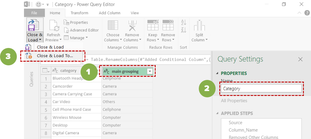 Power Query editor Close & Load To