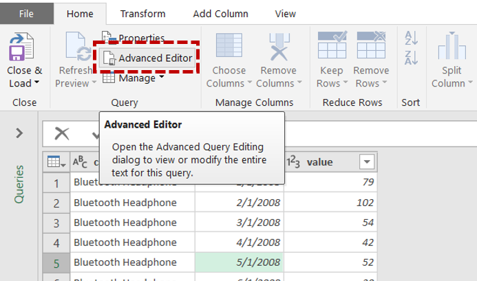 Power Query activate Advanced Query Editing