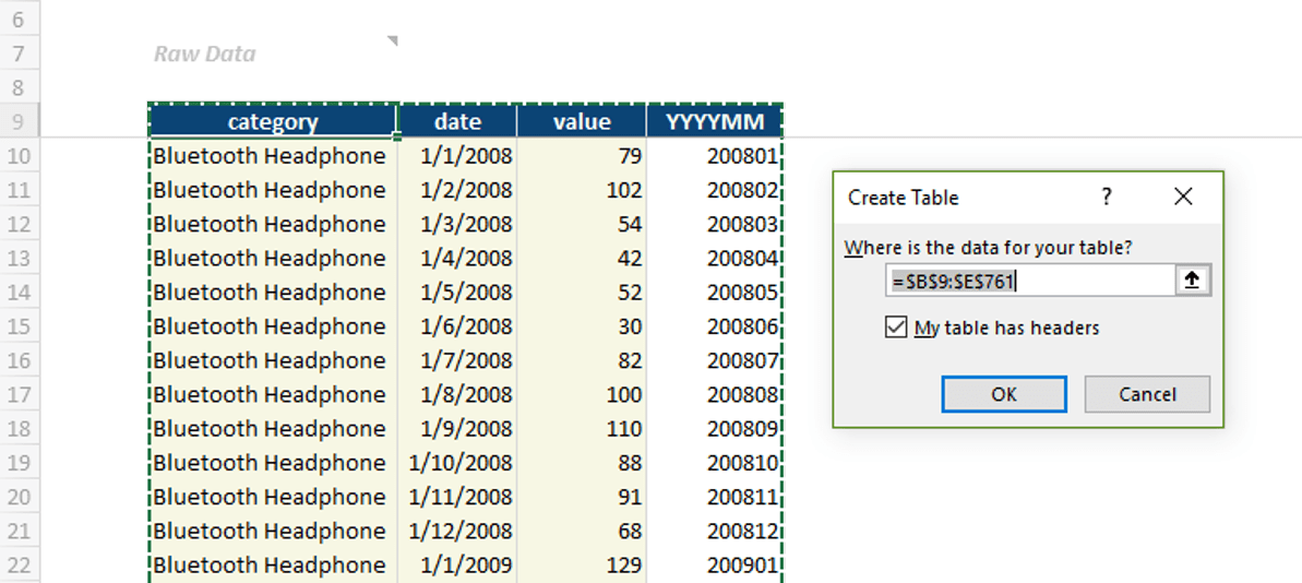 Power Query create table from table